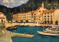 Italian lake scene oil painting by Godwin Bennett (7 of 8)