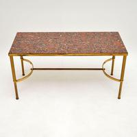 1960's Vintage Italian Brass & Marble Coffee Table (2 of 9)