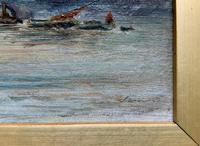 Superb Original 1921 View of Westminster, London Seascape Oil Painting (9 of 12)
