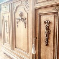 French Antique Oak Sideboard / Cupboard / Cabinet with Arabescato Marble (6 of 10)