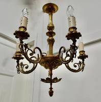 Gilded Brass 5 Branch Rococo Style Chandelier (5 of 8)
