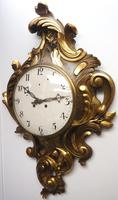 Impressive French Carved Cartel Wall Clock 8 Day Movement Scrolling leaf design 84cm High (6 of 13)