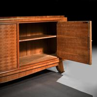 Jules Leleu, French Art Deco Walnut Parquetry Buffet Sideboard Signed Jules Leleu (4 of 11)