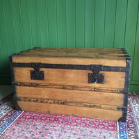Antique French Steamer Trunk Coffee Table Old Rustic Chest and Key + Original Interior (5 of 12)