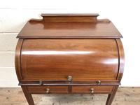Antique Edwardian Mahogany Inlaid Cylinder Top Desk (3 of 14)