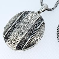 Antique Aesthetic Large Sterling Silver Locket with Long Curb Chain Necklace (7 of 11)