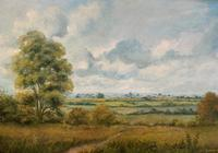 Original 20th Century Vintage English Farmland Country Landscape Oil on Canvas Painting (3 of 14)