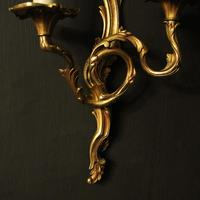 French Set of 4 Gilded Opposing Twin Arm Wall Lights (5 of 9)