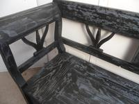 A Funkily Painted Black & Grey Antique/Old Pine Kitchen/Hall Box Settle / Bench (7 of 10)