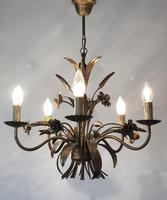 Vintage French 5 Arm Gilt Wheatsheaf & Floral Toleware Chandelier (9 of 9)