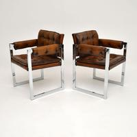 Pair of Vintage Leather & Chrome Armchairs (3 of 15)