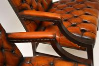 Pair of Antique Leather & Mahogany Gainsborough Armchairs (6 of 8)