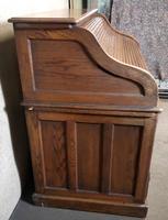 Antique Edwardian Oak Roll Top Pedestal Desk (8 of 10)