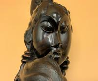 Outstanding Original Signed Carved Wooden Sculpture of a Trendy Art Deco Model (7 of 12)