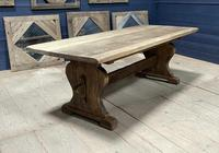 Larger French Bleached Oak Trestle Farmhouse Dining Table (16 of 21)