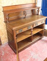 1920s Arts & Craft Style Carved Oak Sideboard with Back (2 of 9)