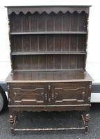 1920's Oak Dresser With Display Rack