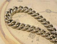 Victorian Pocket Watch Chain 1890s Antique Albo Silver Curb Link Albert With T Bar (6 of 12)