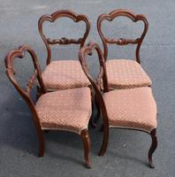 1900's Set of 4 Mahogany Heart Shaped Chairs with Pink Upholstery (2 of 3)