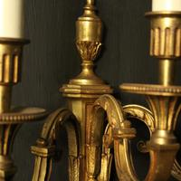 French Pair Of Gilded Triple Arm Antique Wall Lights (9 of 9)