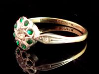 Vintage Art Deco Flower Ring, 9ct Gold & Silver, Emerald Paste (6 of 11)