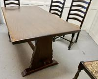 Oak Refectory Table with Set of 4 Chairs (6 of 8)