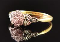 Antique Diamond Flower Ring, 18ct Gold & Platinum (7 of 11)