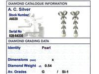 0.54ct Diamond & Pearl, 18ct White Gold Drop Earrings - Vintage c.1960 (8 of 9)