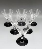 6 x Vintage Art Deco Cocktail Glasses - Black & White