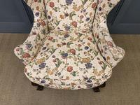 Upholstered Walnut Wing Armchair (4 of 9)