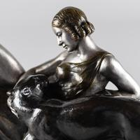 Stunning French Art Deco Bronze & Silvered Sculpture. Signed A.Ouline - Lady & Panther (11 of 11)