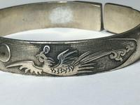 Pair Chinese Republic Silver Plate Bracelet Bangles Dragons Fenghuang Phoenix (7 of 12)