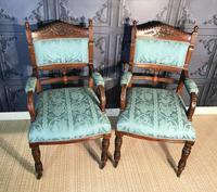Pair of Victorian Walnut Armchairs