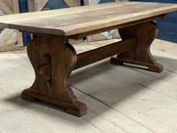 Larger French Bleached Oak Trestle Farmhouse Dining Table (8 of 21)