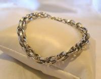 "Vintage Silver Bracelet 1970s Ornate Heart Padlock 7 1/2"" Length 13.3 Grams (3 of 11)"