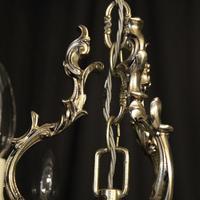 Italian Silver Gilded Triple Light Chandelier (6 of 10)