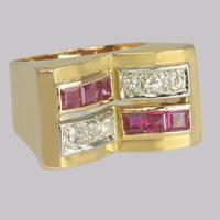 Art Deco Diamond & Ruby 18ct Gold Vintage French Retro Cocktail Ring 1930's (4 of 10)