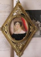 Hand Painted Miniature Portrait Gilt Filigree Frame c.1920 (2 of 5)