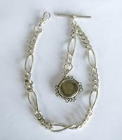 Antique Silver Watch Chain & George III Coin