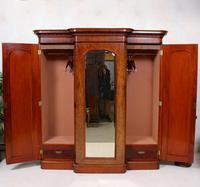 Triple Breakfront Wardrobe Mirrored Mahogany 19th Century (5 of 13)