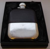 Silver Plated Palm Leather Bound Glass Hip Flask James Dixon 1/16 Pint c.1930 (11 of 12)