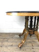 Victorian Walnut & Mixed Woods Inlaid Centre Table (5 of 11)