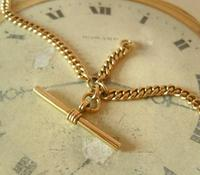 Pocket Watch Chain 1930s 12ct Rose Rolled Gold Double Albert With T Bar (5 of 12)