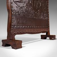 Antique Embossed Fire Screen, Oak, Leather, Fireside, Arts & Crafts, Edwardian (12 of 12)