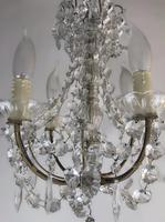 Vintage French Petite Chandelier 4 Arm Crystal Ceiling Light (6 of 6)