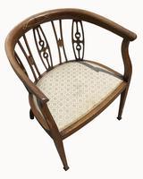 Edwardian Mahogany & Inlaid Tub Chair (2 of 5)