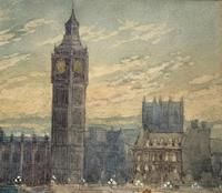 William Henry Harford - Houses of Parliament Riverscape Painting 19th Century (8 of 10)