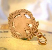 Victorian Pocket Watch Chain Shield Fob 1890s Antique 9ct Rose Rolled Gold Fob