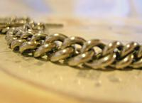 Victorian Pocket Watch Chain 1890s Antique Albo Silver Curb Link Albert With T Bar (7 of 12)