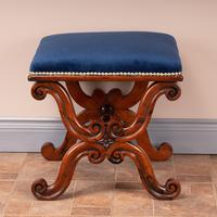Good Quality 19th Century X-framed Rosewood Stool (9 of 10)